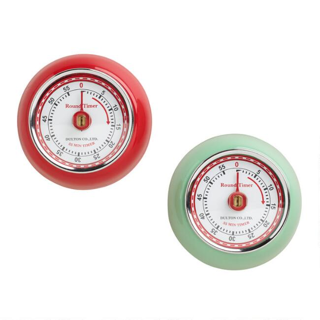 Retro Magnetic Kitchen Timers Set Of 2