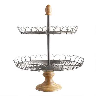 Metal Wire and Wood 2 Tier Edin Stand