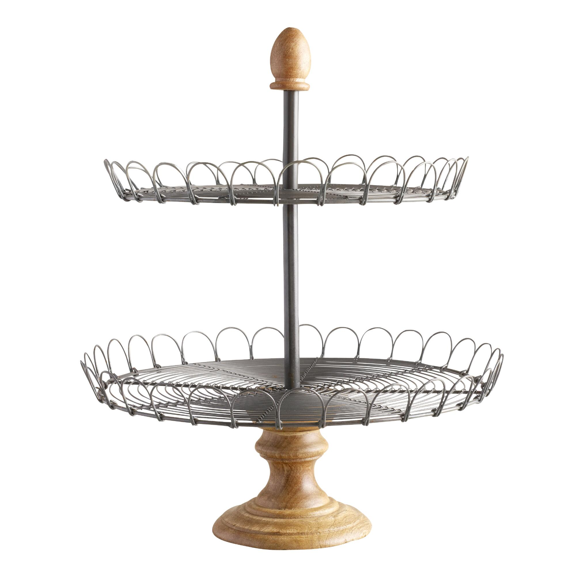 Edin Wood 2-Tiered Stand: Metallic/Natural - Metal by World Market
