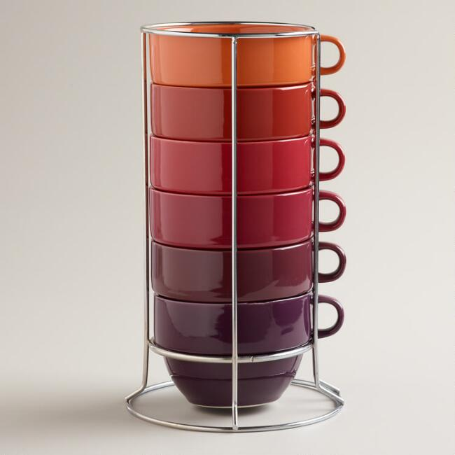 Jumbo Warm Ombre Stacking Mugs, Set of 6