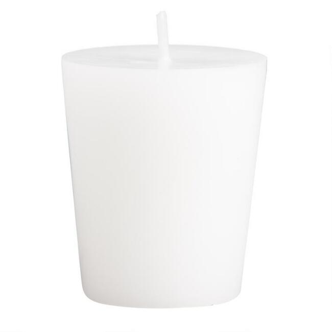 White Unscented Votive Candles, Set of 12