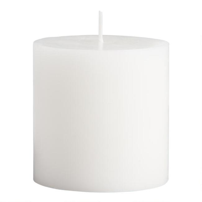 3x3 White Unscented Pillar Candle