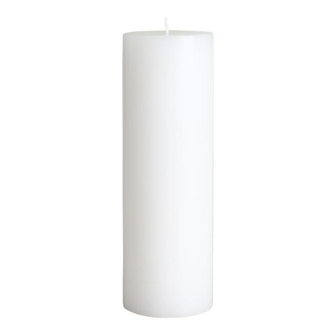 3x9 White Unscented Pillar Candle