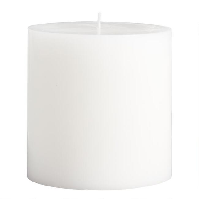 4x4 White Unscented Pillar Candle
