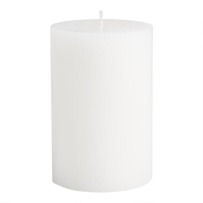 4x6 White Unscented Pillar Candle