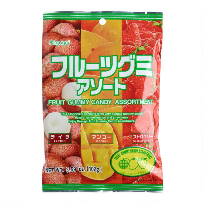 Kasugai Assorted Fruit Gummy Candy Set Of 12