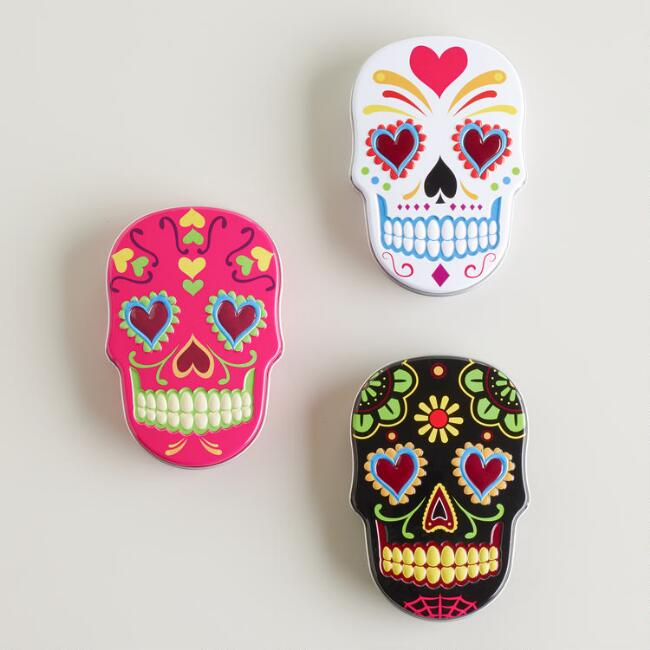 Sugar Skulls Candy Tin Set Of 6