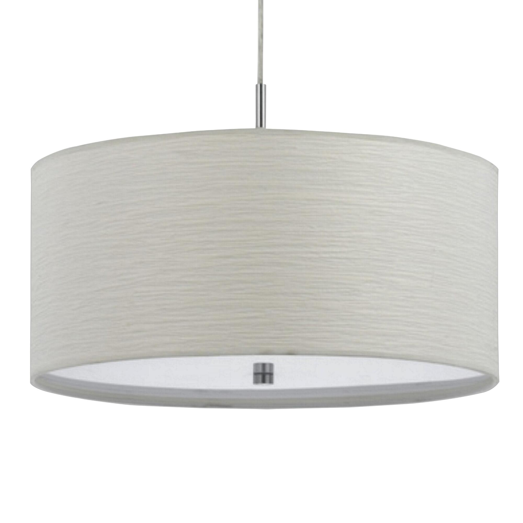White Fabric Drum 2 Light Billie Pendant Lamp by World Market