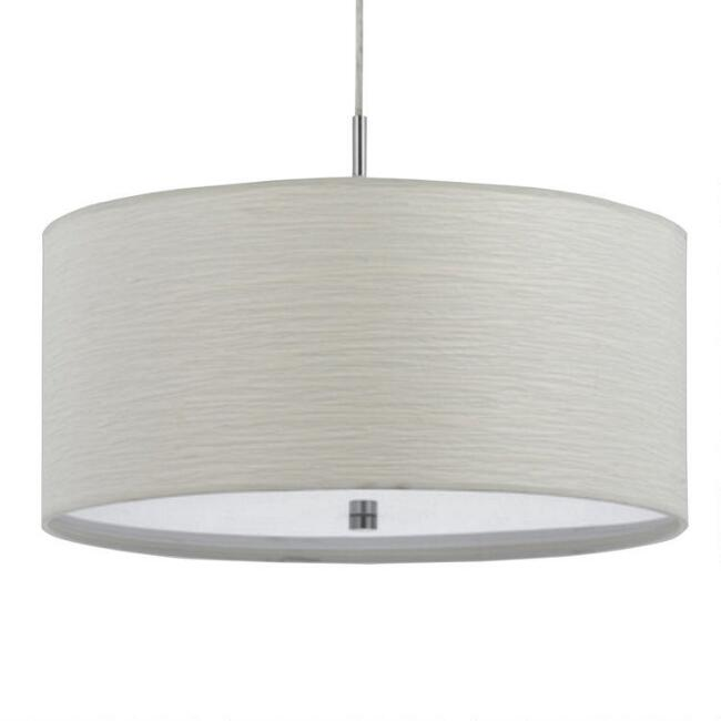 White Fabric Drum 2 Light Billie Pendant Lamp