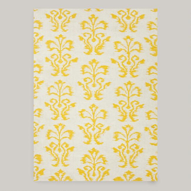 White and Gold Abria Flat-Woven Wool Rug