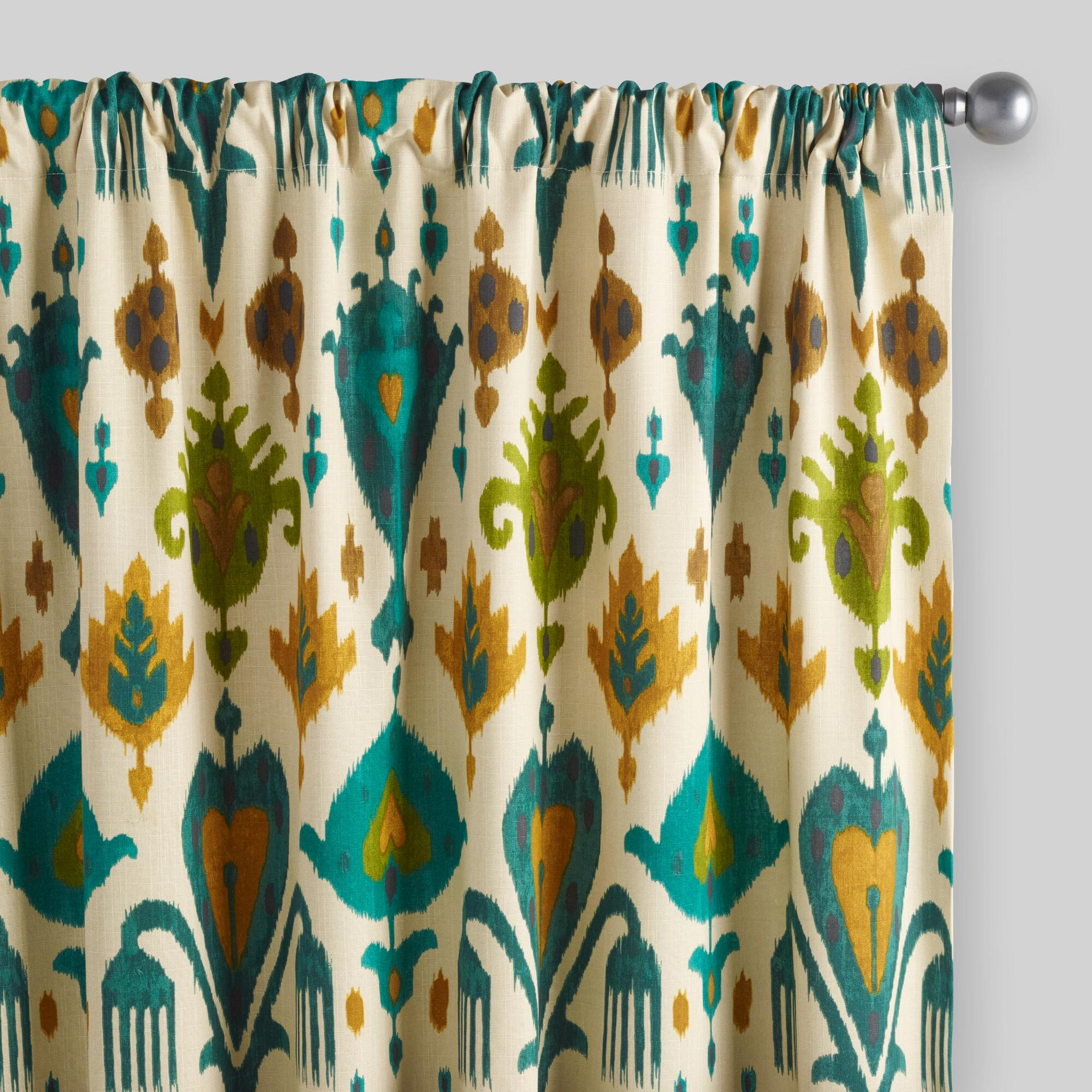 Christmas shower curtains on ebay - Gold And Teal Ikat Aberdeen Cotton Curtains Set Of 2
