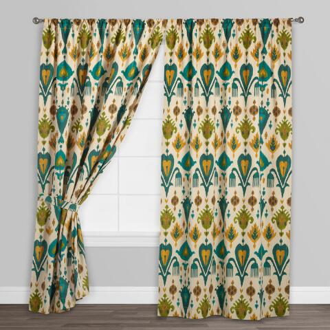 Gold And Teal Ikat Aberdeen Cotton Curtains Set Of 2
