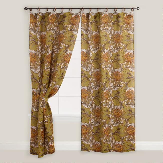 Floral Artiste Jute Ring Top Curtain