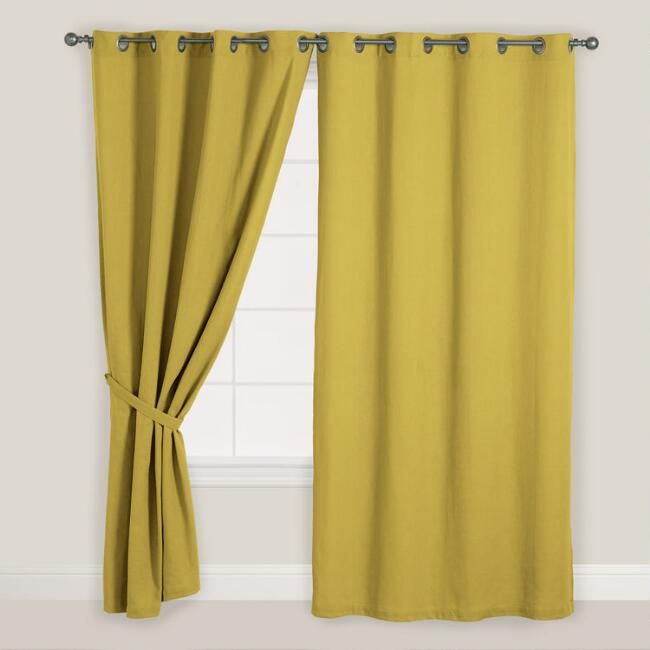Olive Green Bori Cotton Grommet Top Curtain