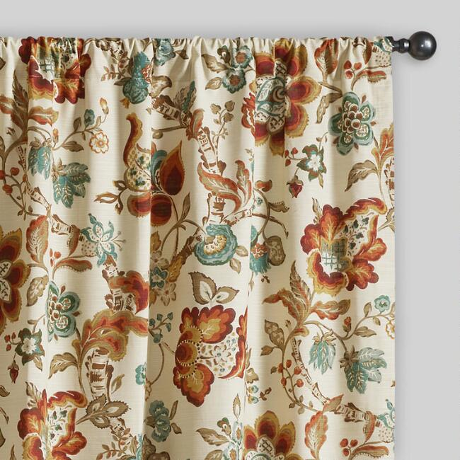 Multicolor Floral Malli Sleevetop Curtains, Set of 2