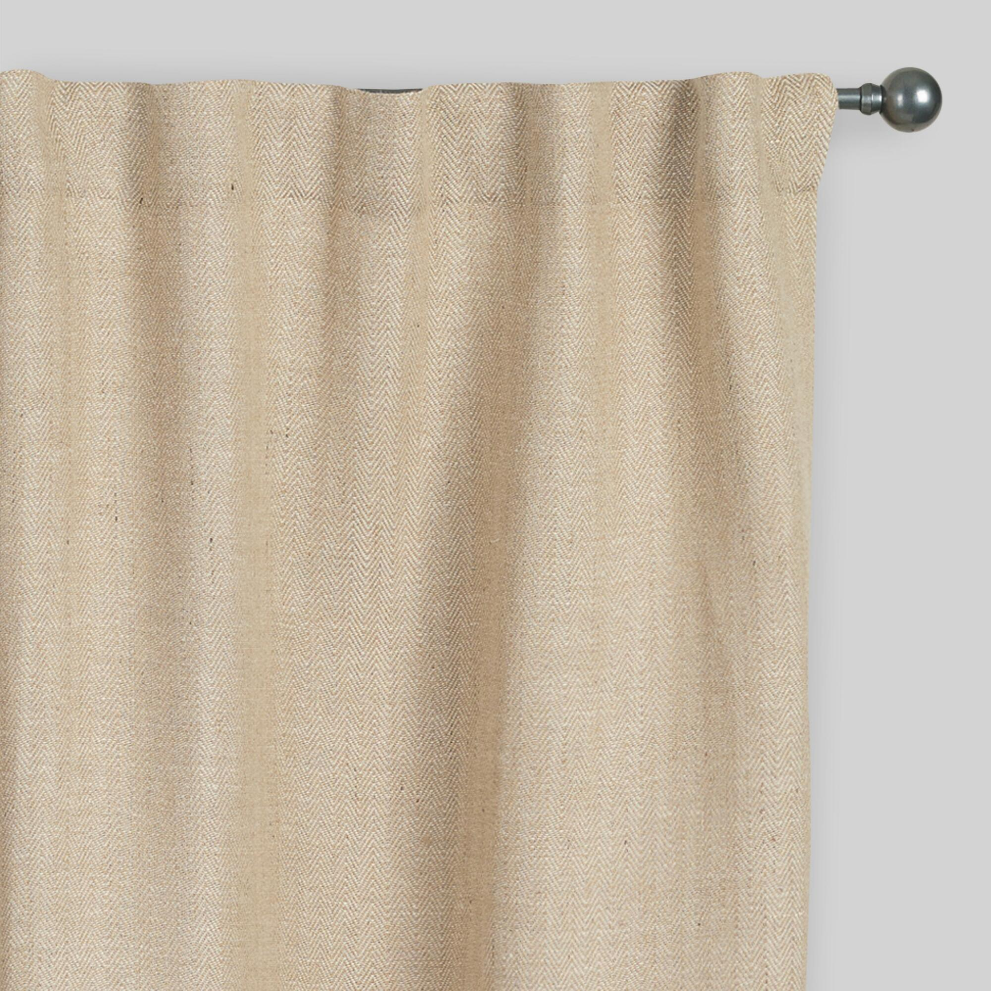 Blinds and curtains combination bedroom - Natural Herringbone Jute Sleevetop Curtains Set Of 2