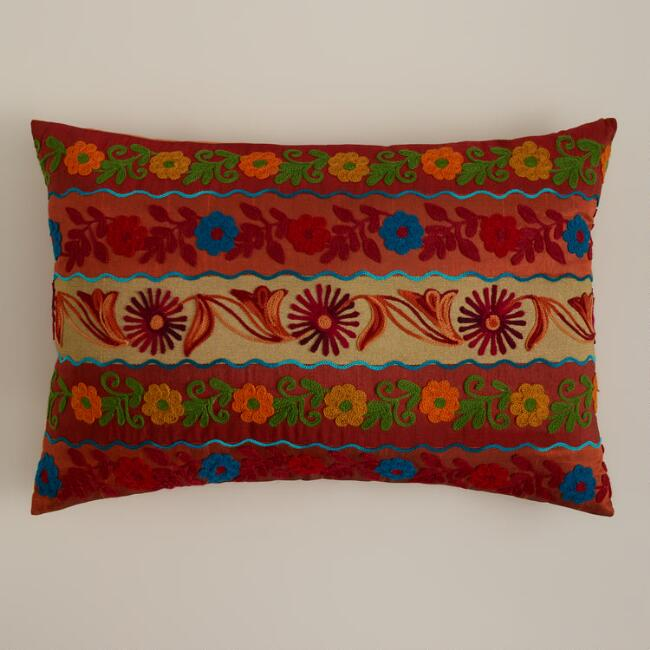 Red Stripe Boho Lumbar Pillow