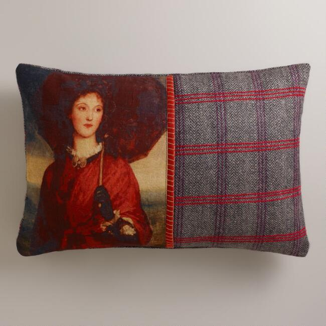 Portrait Tweed Glasgow Lumbar Pillow