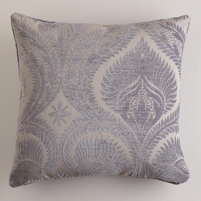 Gray Art Nouveau Chenille Throw Pillow