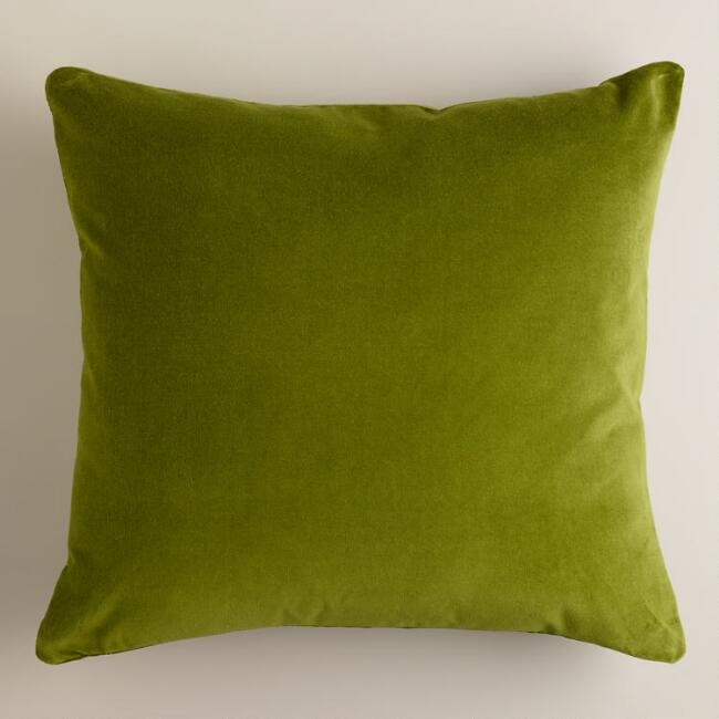 Calla Green Velvet Throw Pillows