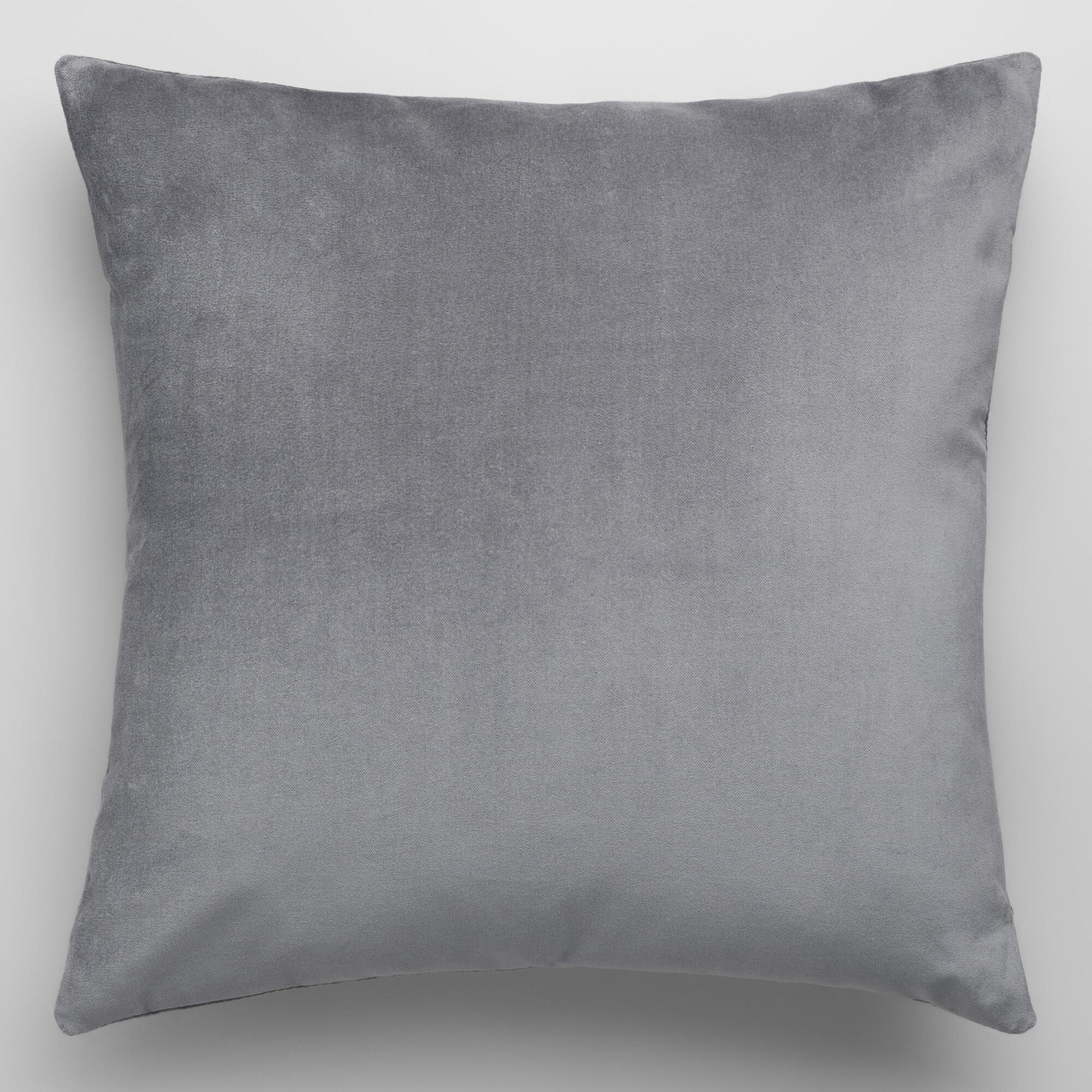 Blue decorative bed pillows - Tornado Gray Velvet Throw Pillow
