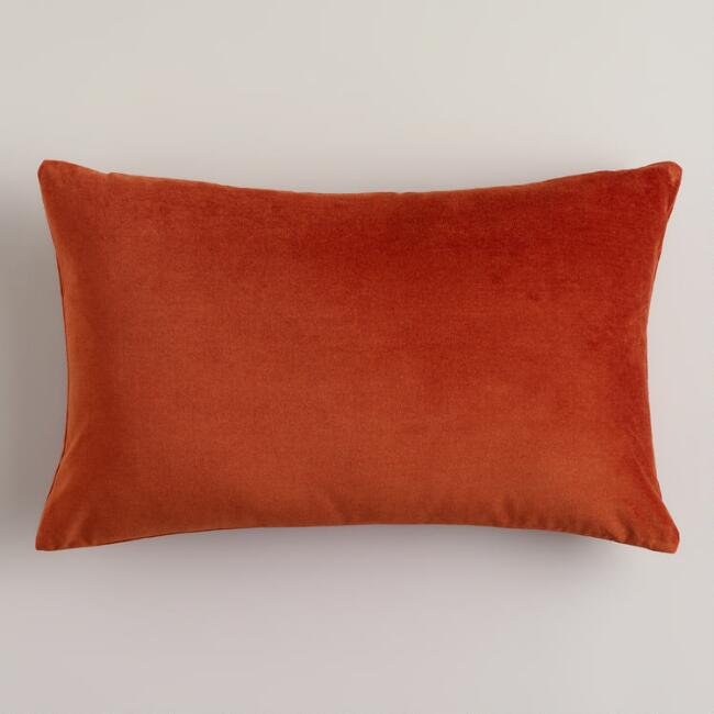 Gold Flame Velvet Lumbar Pillow