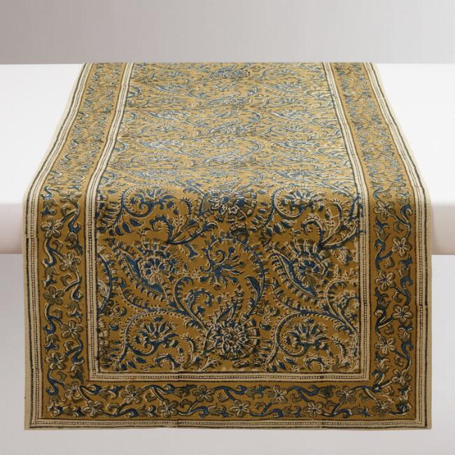 Teal and Gold Kalamkari Table Runner
