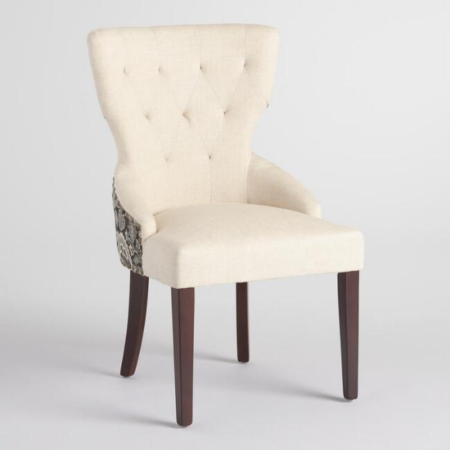 Black Floral and Linen Maxine Dining Chair