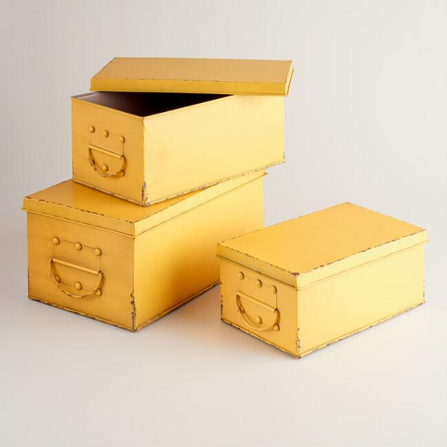 Yellow Austin Metal Box