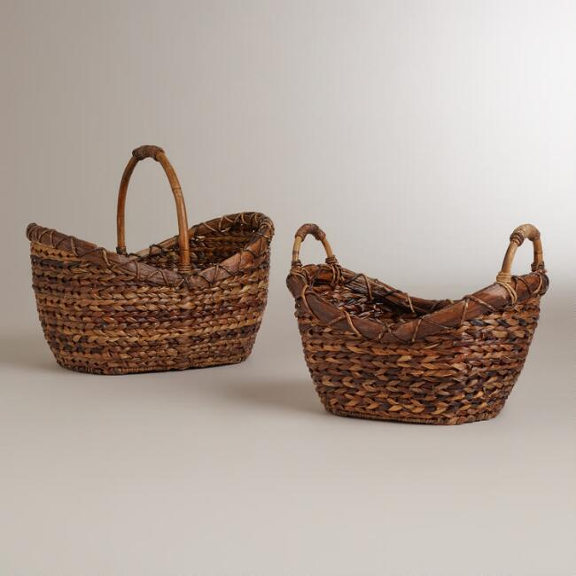 Bryce Braided Oval with Wood Handles Basket