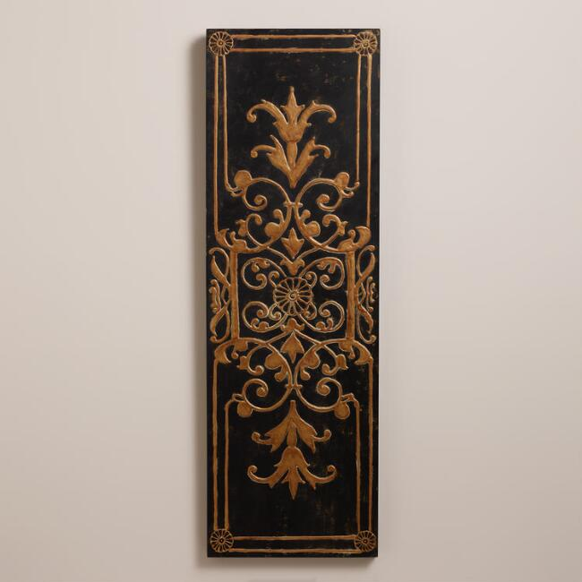 Gold and Black Medallion Wood Panel