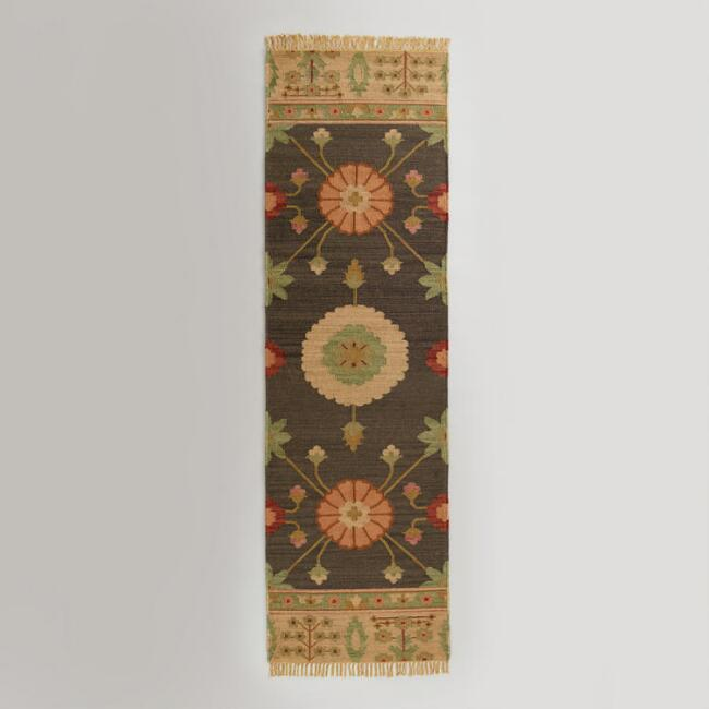 2.5'x 8' Floral Medallion Flat-Woven Floor Runner