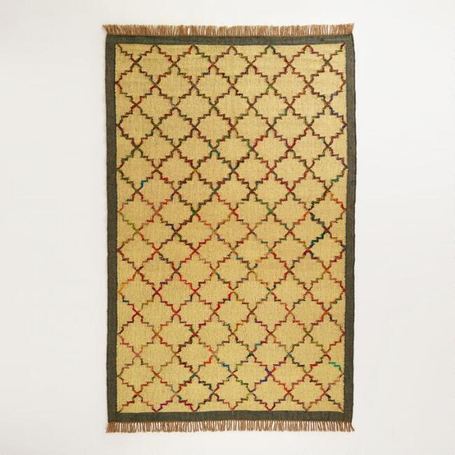 5' x 8' Lattice Design Flat Weave Jute and Recycled Silk Rug