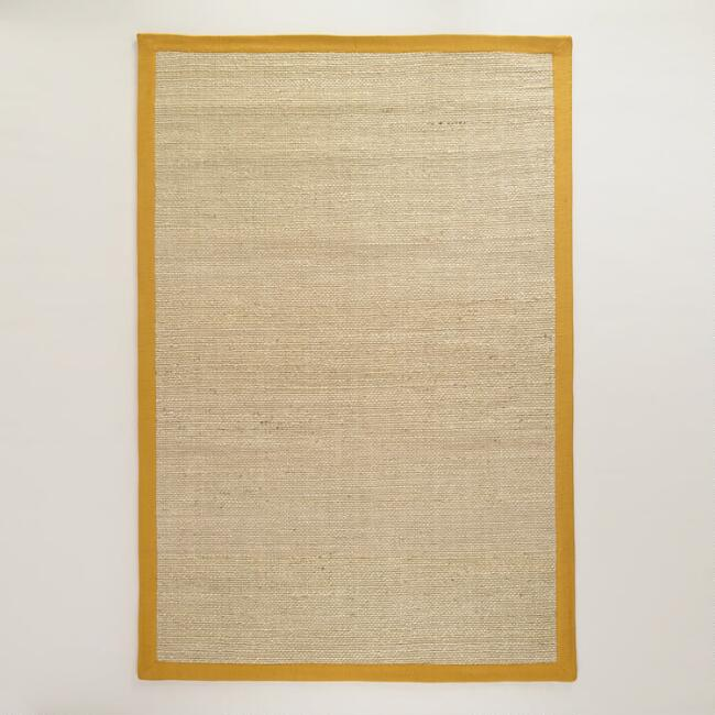 6' x 9' Mustard Border Natural Jute Rug