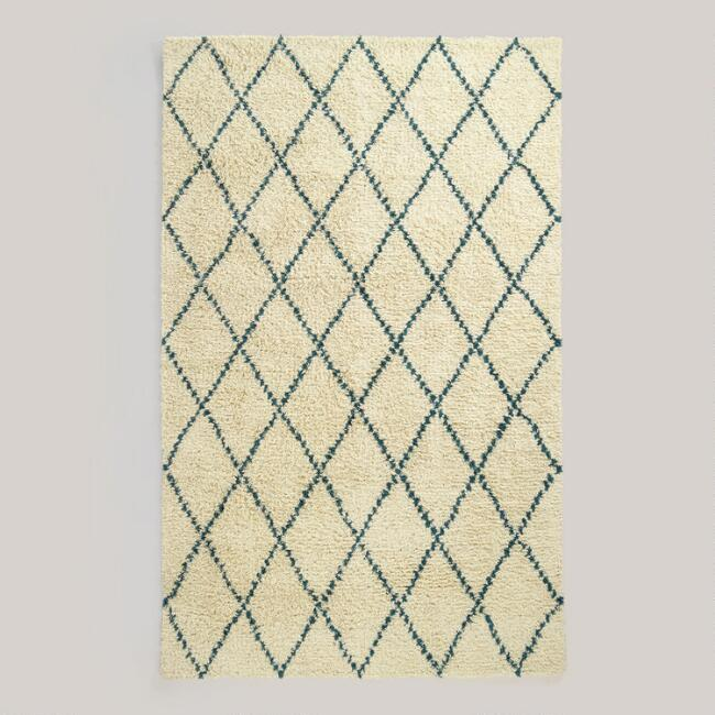 5' x 8' Teal Ivory Moroccan-Style Shag Rug