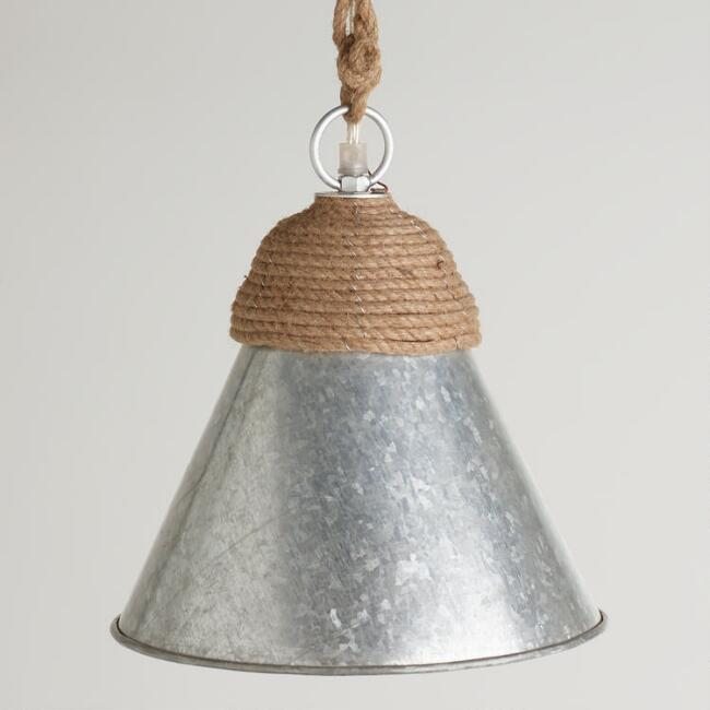 Galvanized Metal and Rope Pendant Lamp
