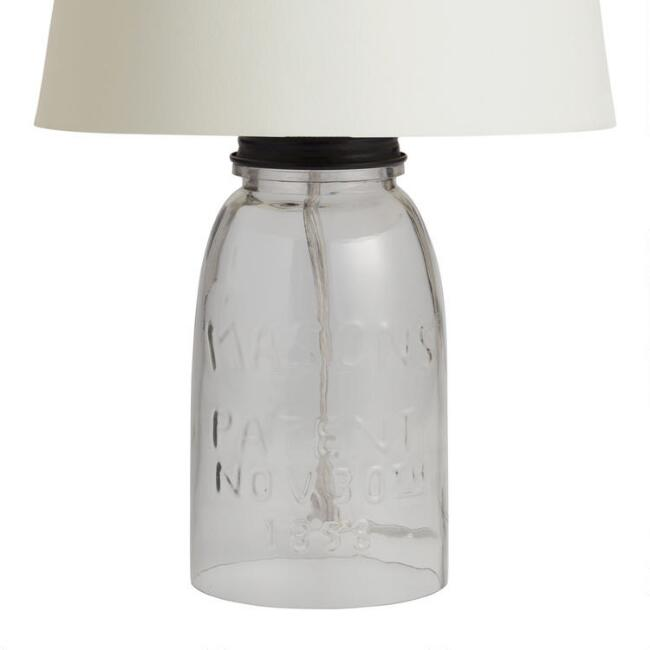 Glass Mason Jar Accent Lamp Base