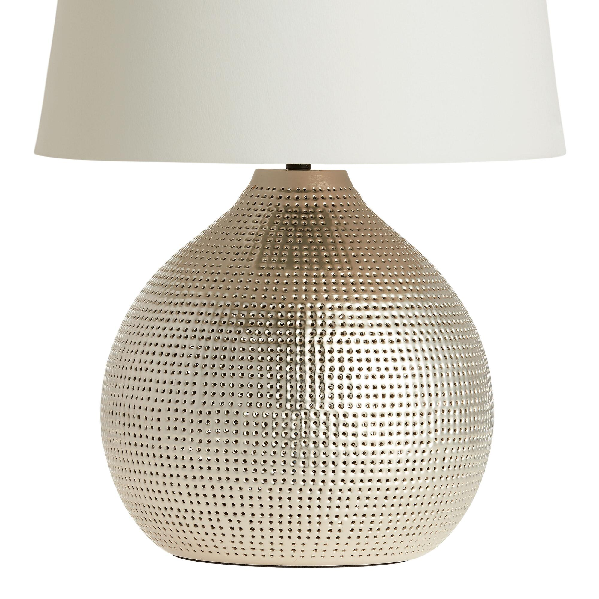 Table top lamps unique lamp shades world market pewter prema punched metal table lamp base aloadofball Image collections