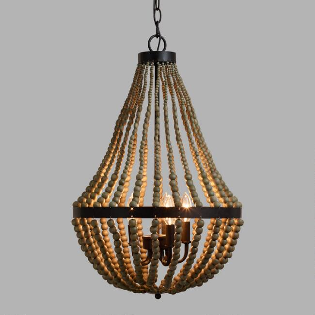 Small wood bead chandelier world market aloadofball Image collections