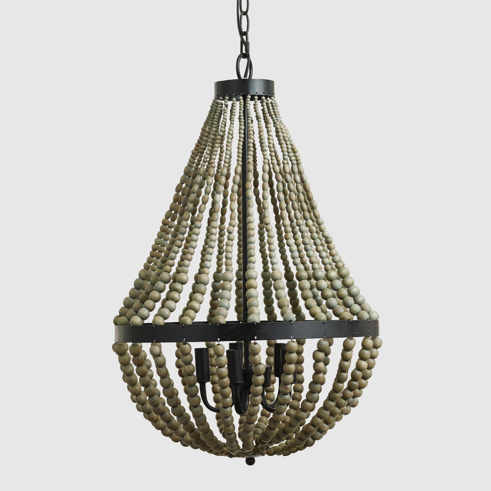 Small wood bead chandelier world market arubaitofo Image collections