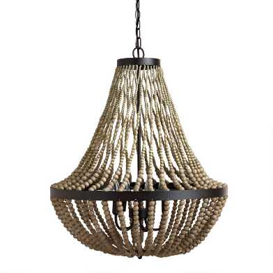 Large Taupe Wood Bead Teardrop 5 Light Chandelier