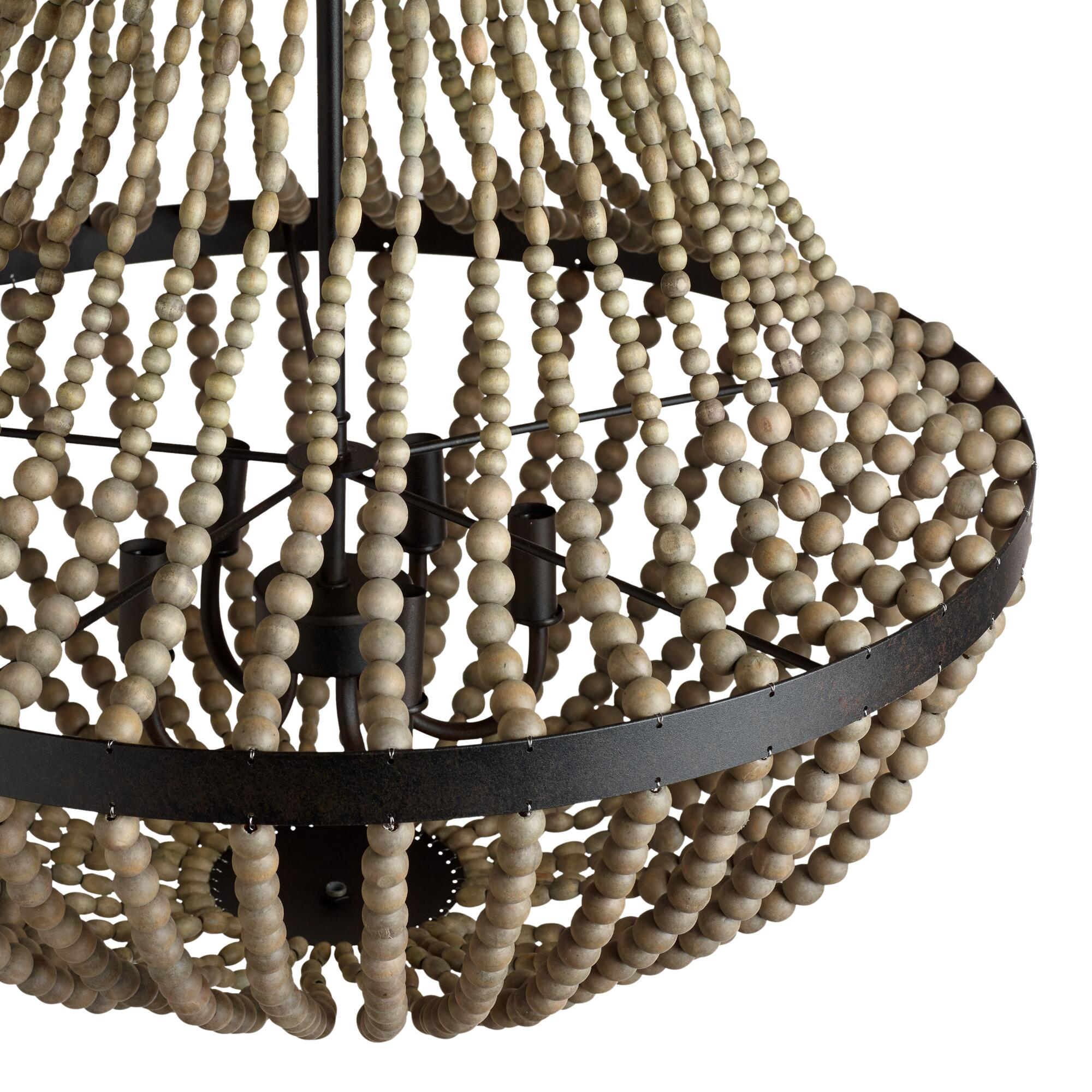 Large wood bead chandelier world market arubaitofo Image collections