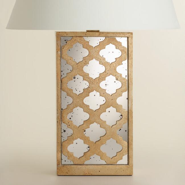 Moroccan Lattice Mirror Table Lamp Base