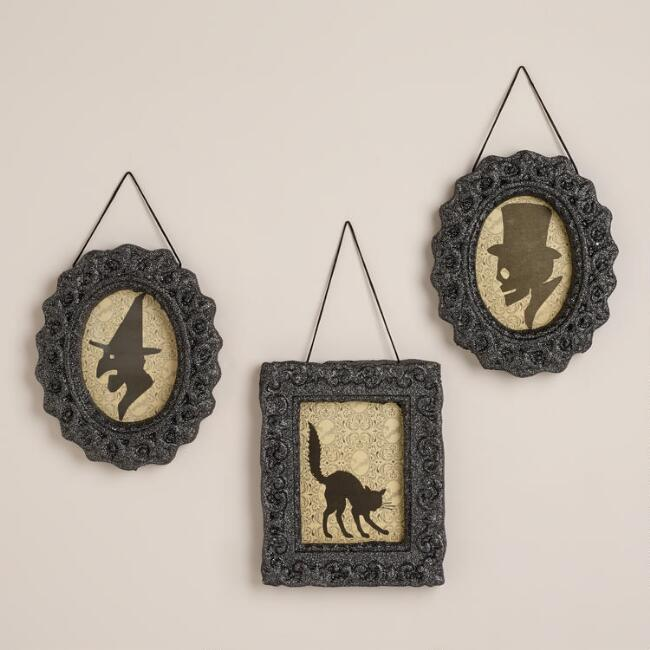 Framed Halloween Silhouettes, Set of 3