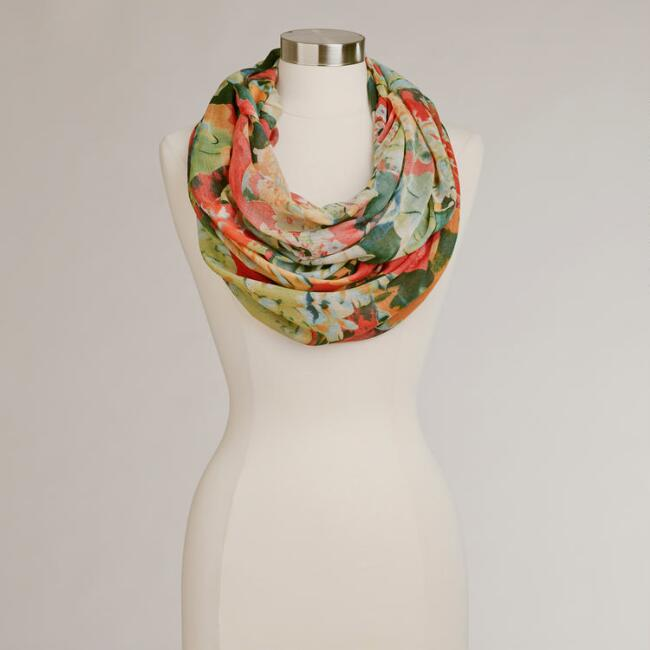 Warm Floral Infinity Scarf