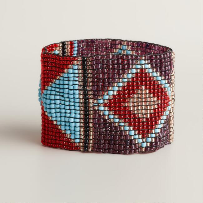 Red and Blue Beaded Tribal Stripe Bracelet