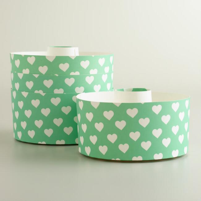 Mint Dots Paper Bundform Pans, Set of 4
