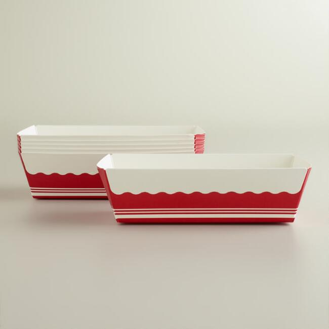 Red and White Stripes Paper Loaf Pans, Set of 6