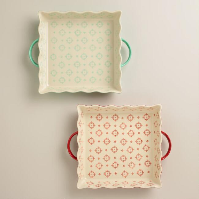 Square Wavy Open Bakers, Set of 2