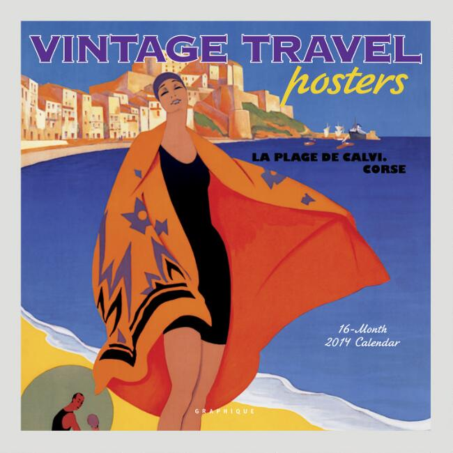 Vintage Travel Posters 16-Month Wall Calendar